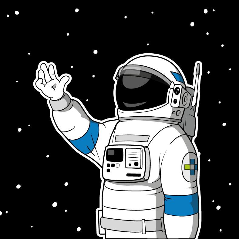 Astronaut vor Weltraumhintergrund