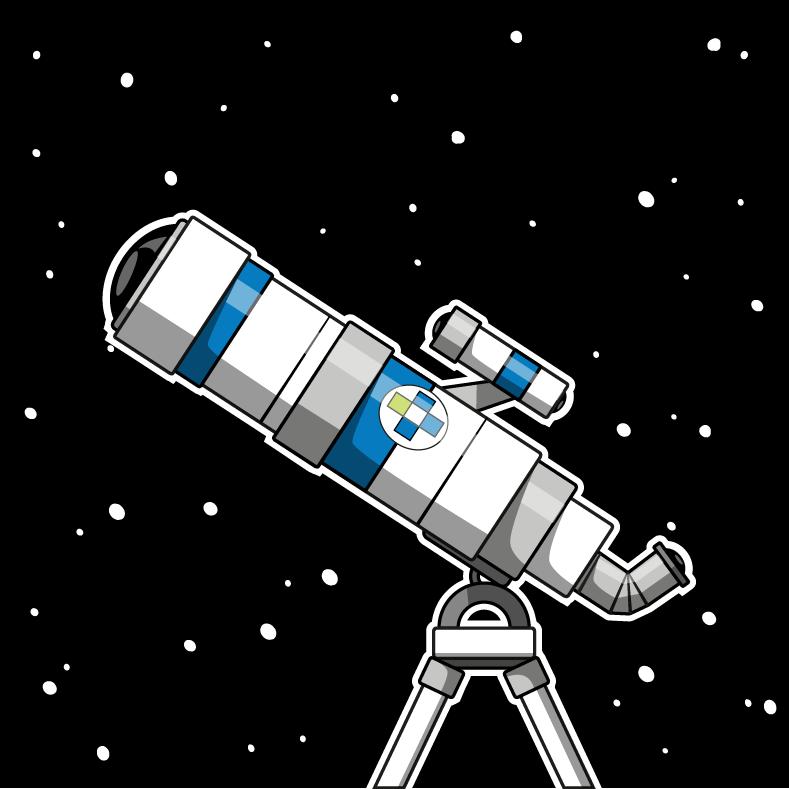 Teleskop vor Weltraumhintergrund