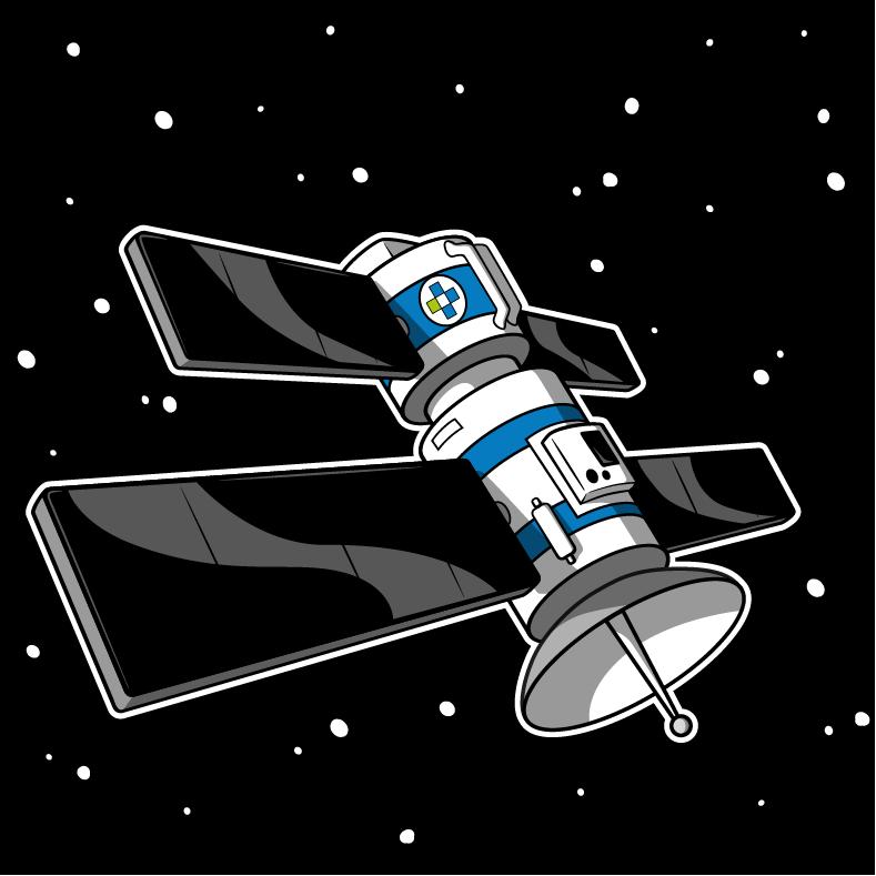Satellit vor Weltraumhintergrund