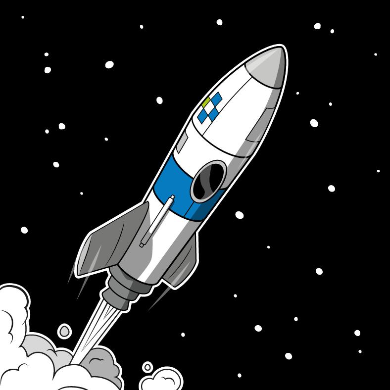 Rakete vor Weltraumhintergrund